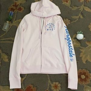 Light pink Aeropostale zip up hoodie